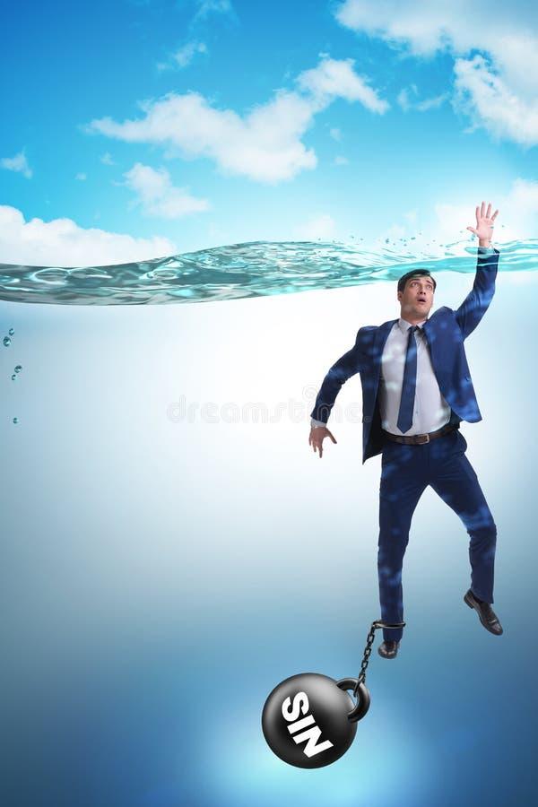 De zakenman die onder de last van zonde en schuld verdrinken royalty-vrije stock afbeeldingen