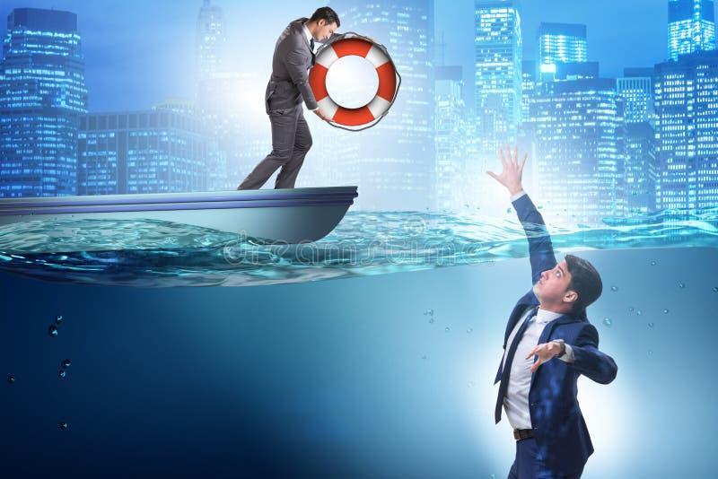 De zakenman die van verdrinking worden gered royalty-vrije stock afbeelding