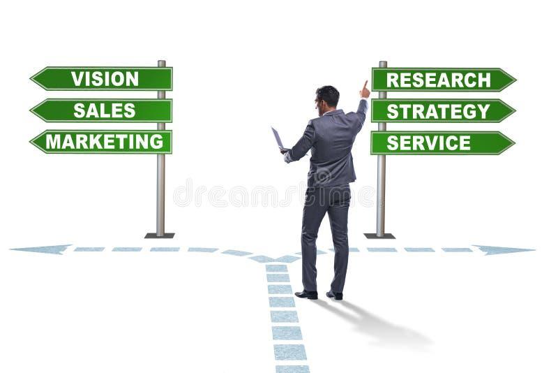 De zakenman die zich bij kruispunten van collectieve strategie bevinden stock illustratie