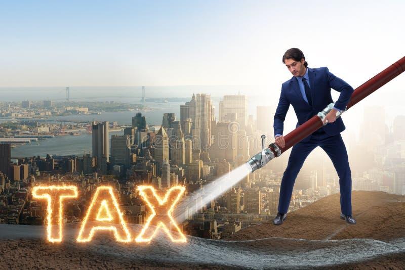 De zakenman die zijn belastingen betalen royalty-vrije illustratie