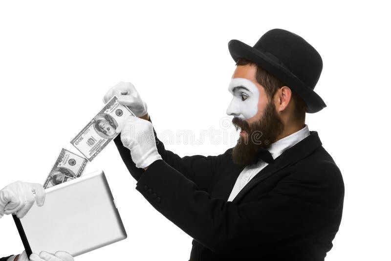 De zakenman dient de vorm van in nabootst uittreksel royalty-vrije stock afbeeldingen
