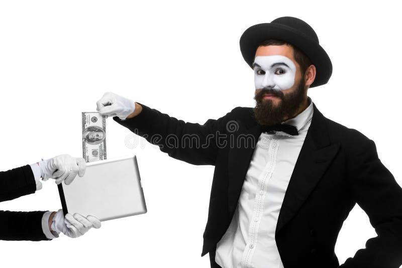 De zakenman dient de vorm van in nabootst uittreksel stock afbeeldingen