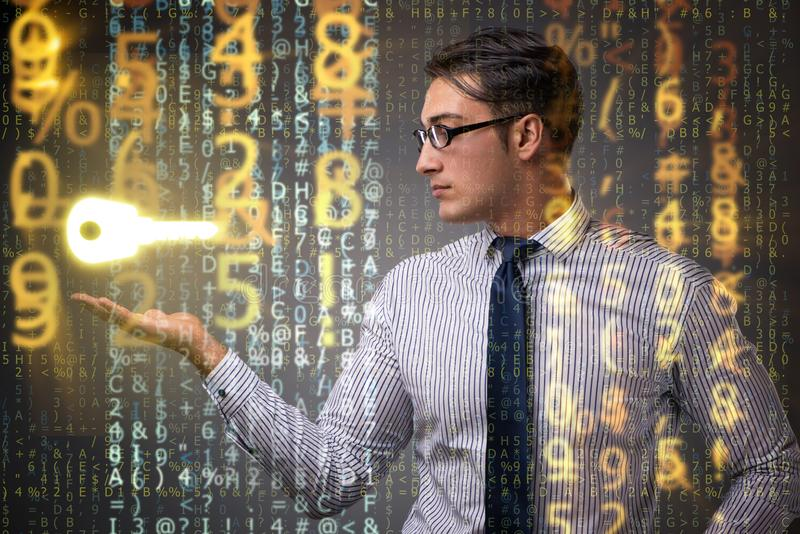 De zakenman in digitaal veiligheidsconcept royalty-vrije stock foto's