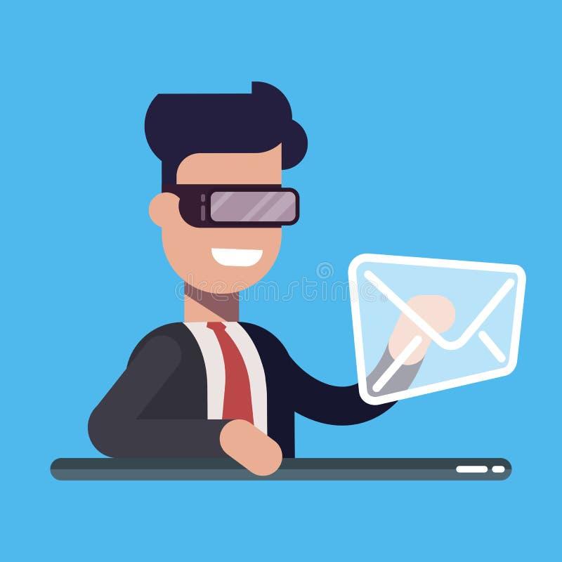 De zakenman drukt van de de post virtueel werkelijkheid van het knoopbericht het netwerke-mail pictogram geïsoleerde beeldverhaal stock illustratie