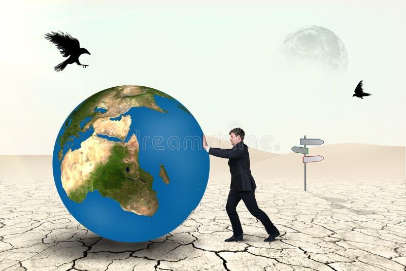 De zakenman duwt wereldgebied royalty-vrije illustratie