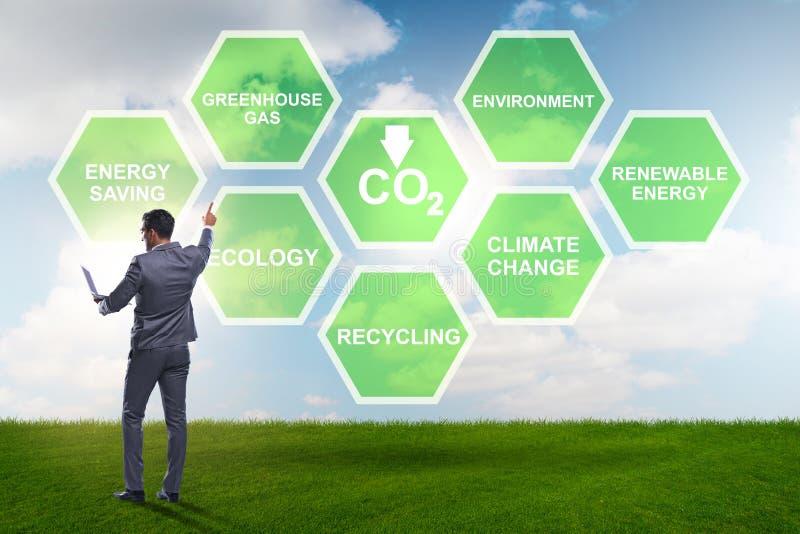 De zakenman in ecologie en milieuconcept royalty-vrije stock afbeeldingen