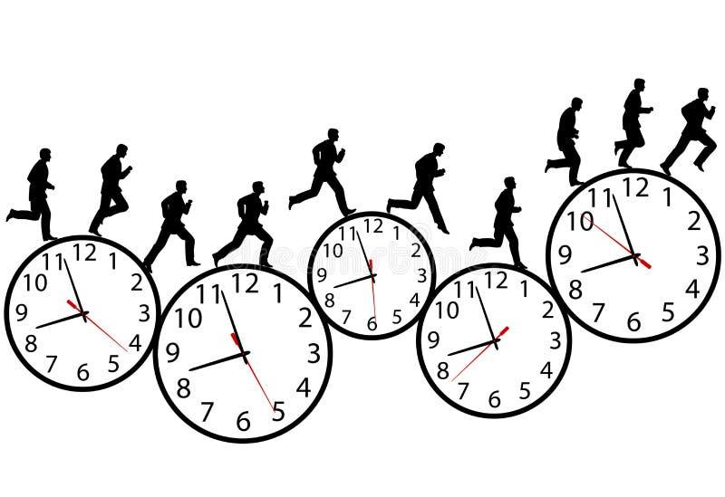 De zakenman in een haast stelt op tijd klokken in werking stock illustratie