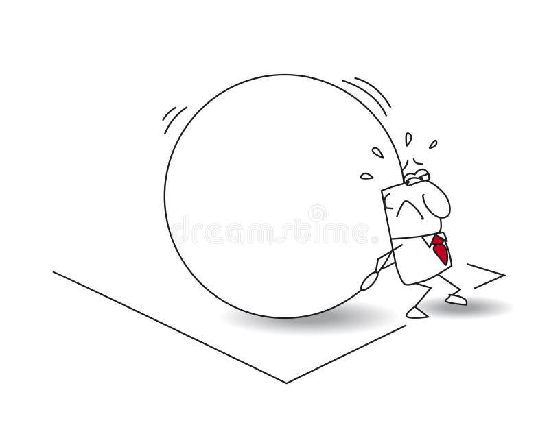 De zakenman en de mythe van sisyphus stock illustratie