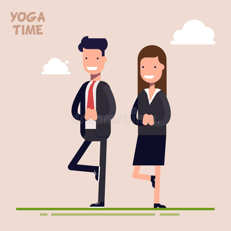 De zakenman en de onderneemster of de managers zijn bezig geweest met yoga Stel boom Tijd van het psychologische leegmaken en ont vector illustratie