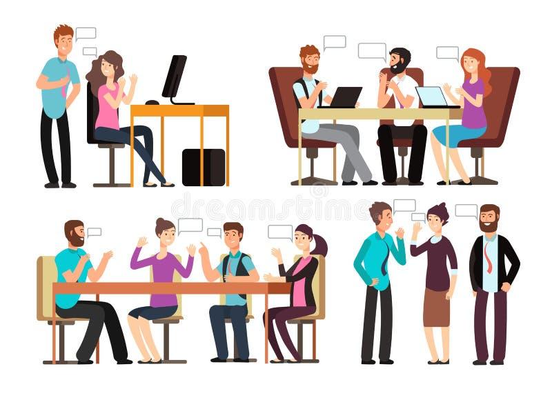 De zakenman en de vrouw hebben gesprek in verschillende bedrijfssituaties in bureau Mensen die vectorset van tekens ontmoeten stock illustratie