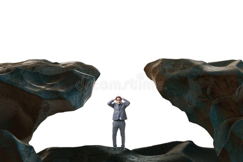 De zakenman gevallen aan het hiaat in bergen royalty-vrije illustratie