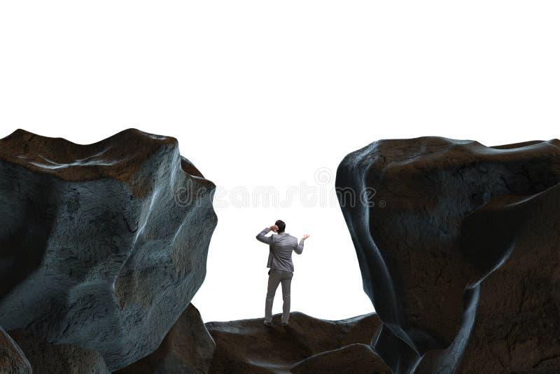 De zakenman gevallen aan het hiaat in bergen vector illustratie