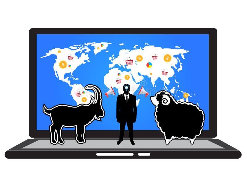 De zakenman grijpt een geit om een schaap op computer online aan te passen en pictogramzaken te plaatsen vector illustratie