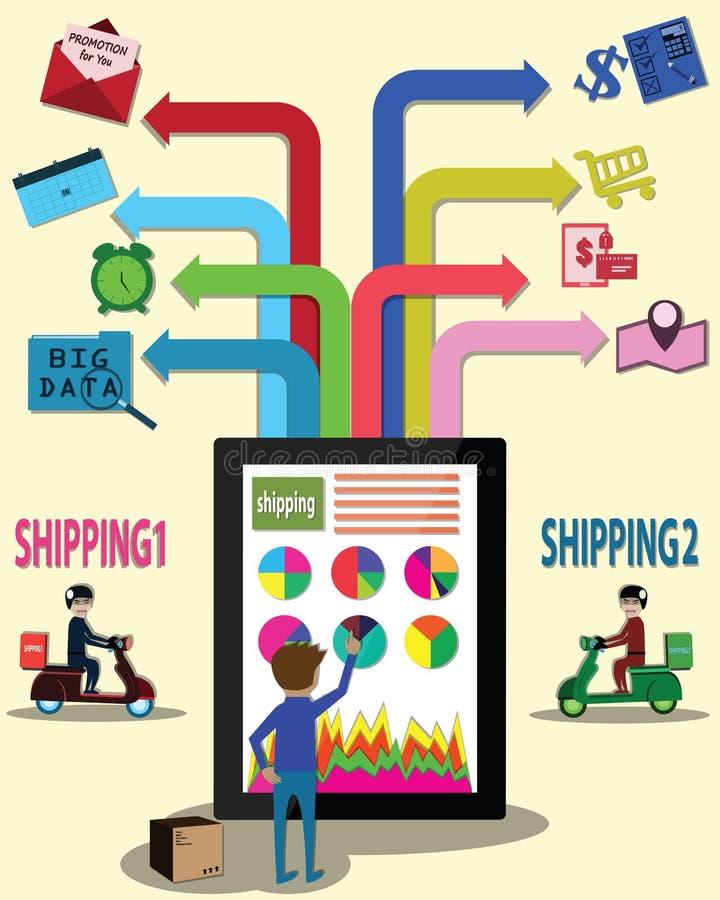 De zakenman heeft voor de beste scheepvaartmaatschappij van online website - vector vergeleken royalty-vrije illustratie