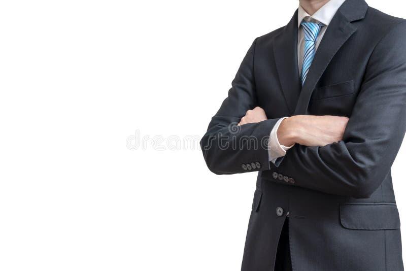 De zakenman heeft wapens gekruist Geïsoleerdj op witte achtergrond royalty-vrije stock foto