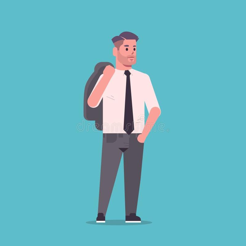 De zakenman in het formele jasje van de slijtageholding op schouders die stelt het glimlachen mannelijk van het bedrijfs beeldver royalty-vrije illustratie