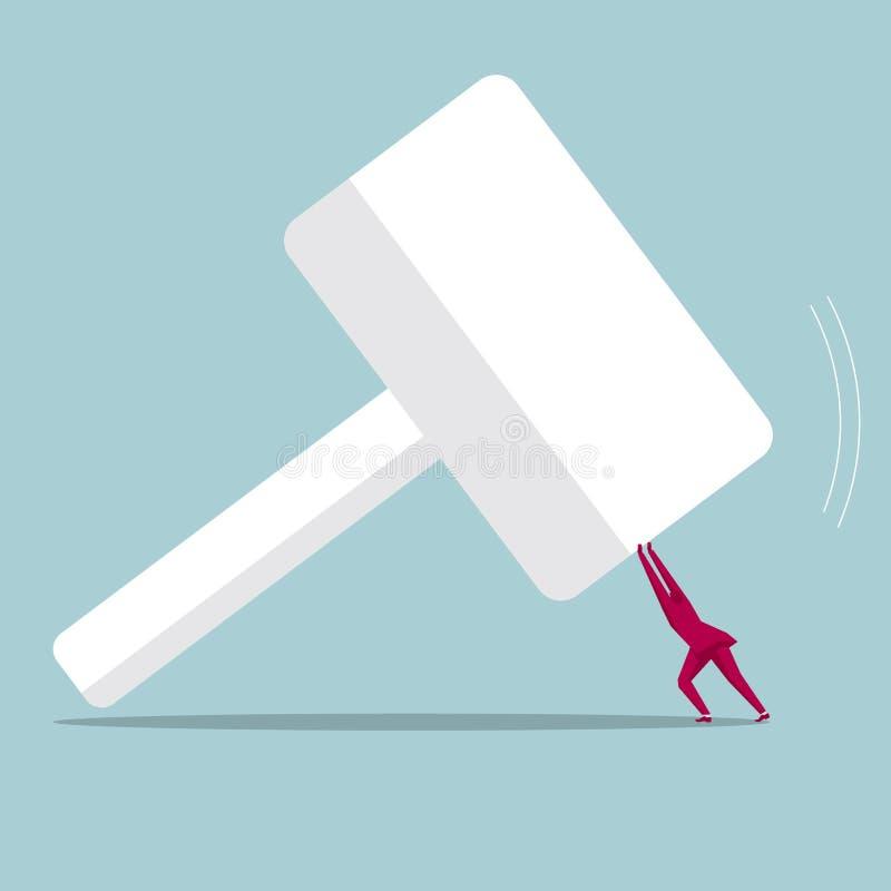 De zakenman hief een reusachtige hamer op vector illustratie