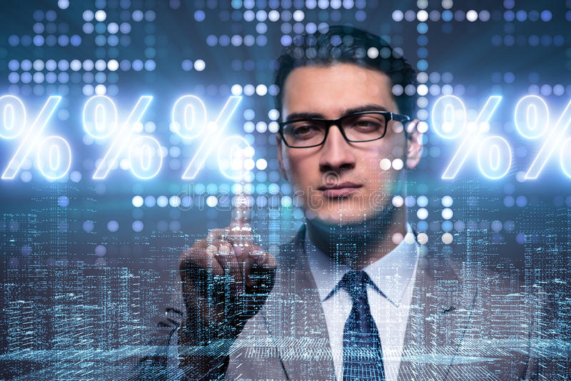De zakenman in hoog rentevoetconcept royalty-vrije stock foto
