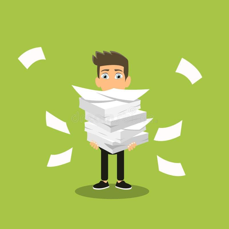 De zakenman houdt stapel van bureaudocumenten en documenten Documenten en dossier Routine, bureaucratie, grote gegevens, administ royalty-vrije illustratie