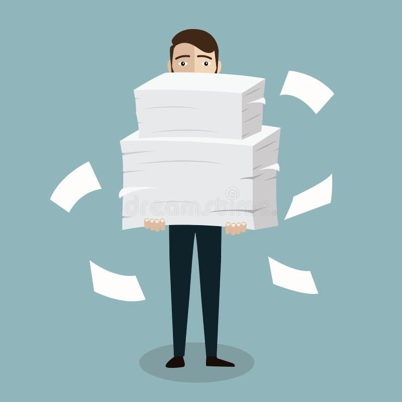 De zakenman houdt stapel van bureaudocumenten en documenten Documenten en dossierroutine, bureaucratie, grote gegevens, administr royalty-vrije illustratie