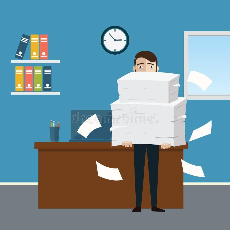 De zakenman houdt stapel van bureaudocumenten en documenten Documenten en dossierroutine, bureaucratie, grote gegevens, administr vector illustratie