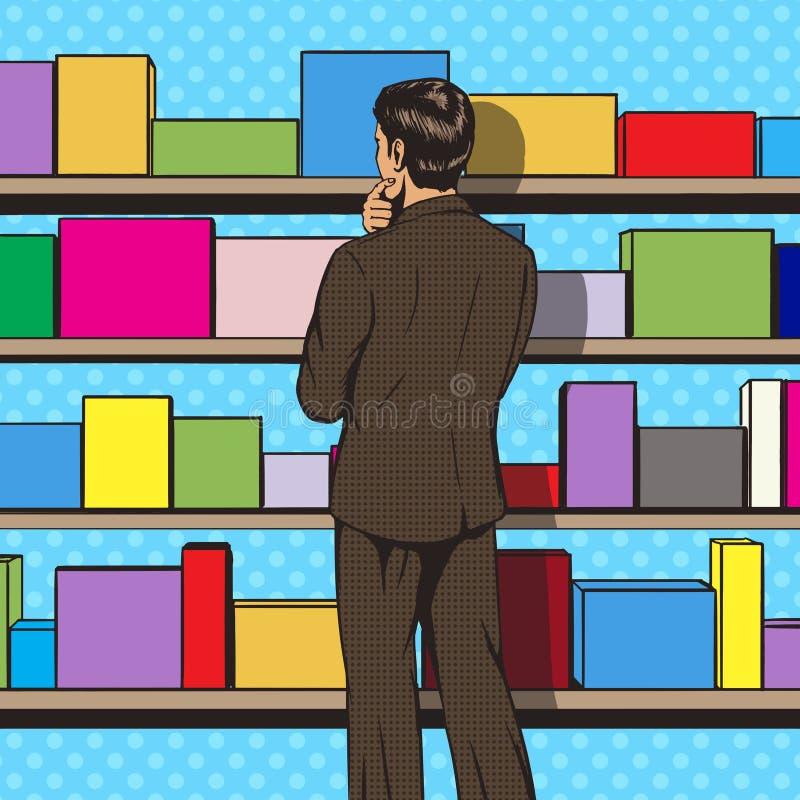 De zakenman kiest de vector van de pop-artstijl vector illustratie