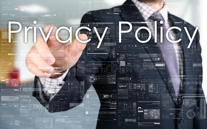 De zakenman kiest Privacybeleid van het aanrakingsscherm royalty-vrije stock foto