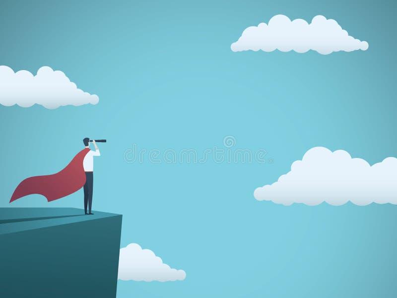 De zakenman kleedde zich als superhero vectorconcept Zakenman met kaap en telescoop die zich op klip bevinden Symbool van macht stock illustratie