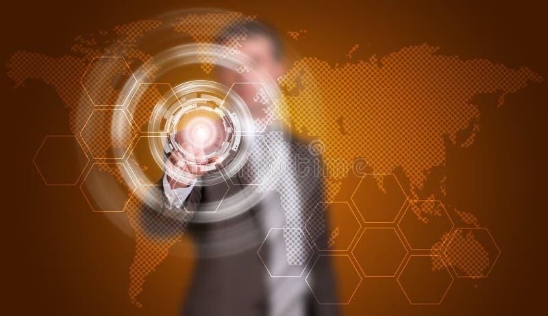 De zakenman in kostuumvinger drukt virtuele knoop vector illustratie