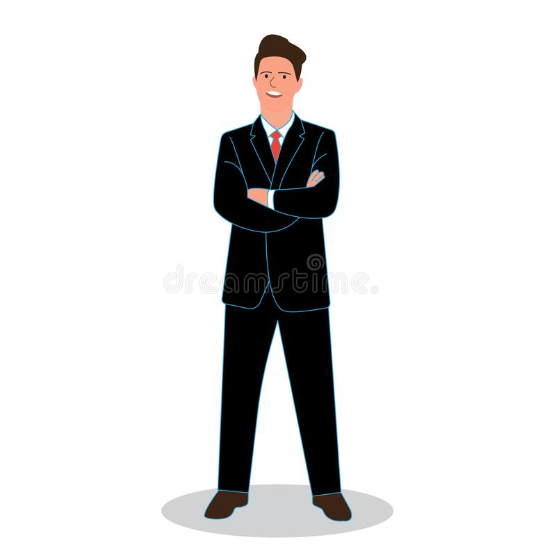 De zakenman kruiste zijn wapens Vector royalty-vrije illustratie