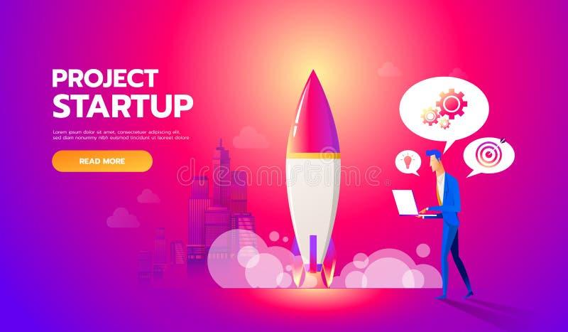 De zakenman lanceert raket in de hemel De vector vlakke illustratie van het opstarten van bedrijvenconcept De werknemer houdt toe vector illustratie