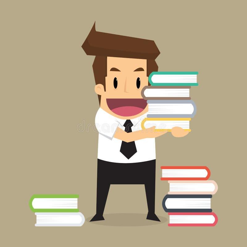 De zakenman leert en lezing een boek stock illustratie