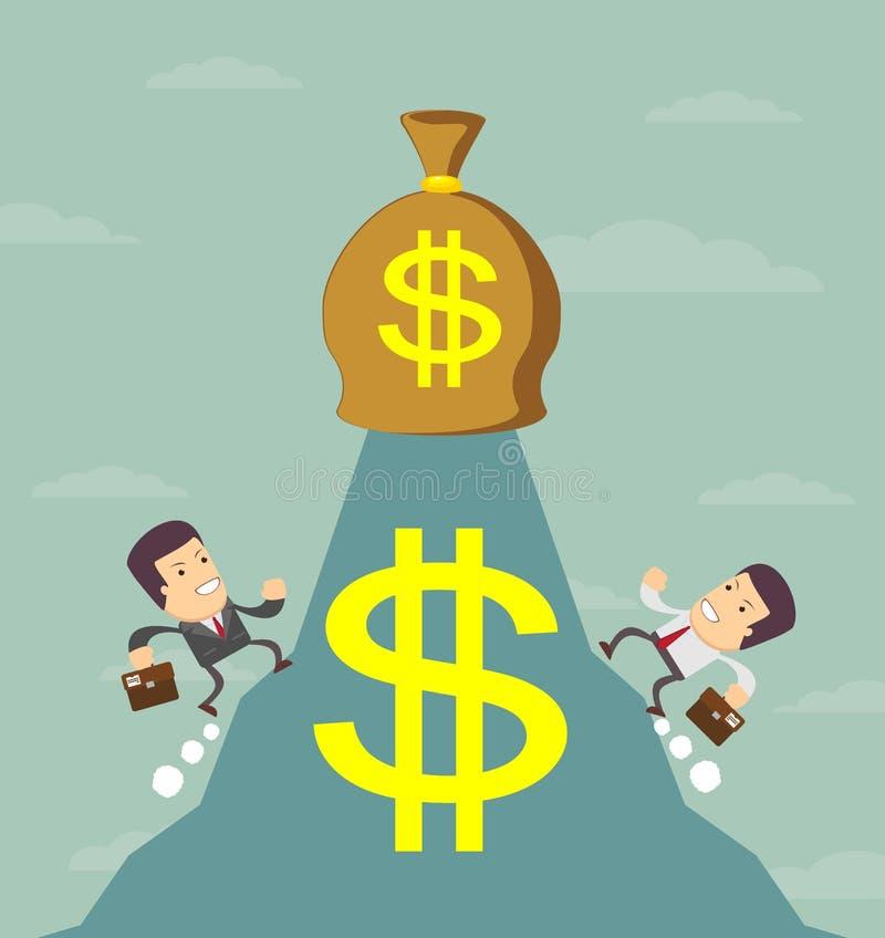 De zakenman loopt om het geld te krijgen royalty-vrije illustratie