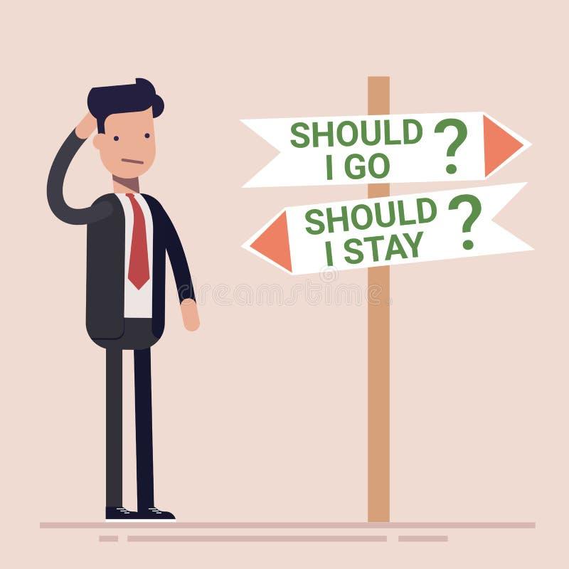 De zakenman of de manager bevinden zich door de verkeersteken en maken een keus te blijven of te gaan Vlakke vectorillustratie royalty-vrije illustratie