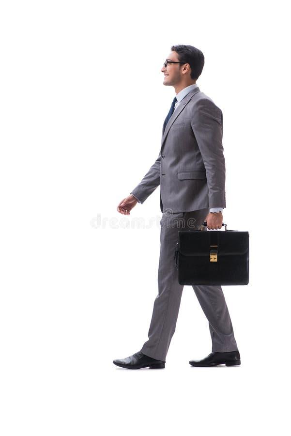 De zakenman met aktentas op wit wordt geïsoleerd dat stock foto