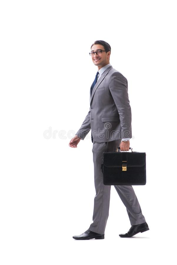 De zakenman met aktentas op wit wordt geïsoleerd dat stock afbeeldingen