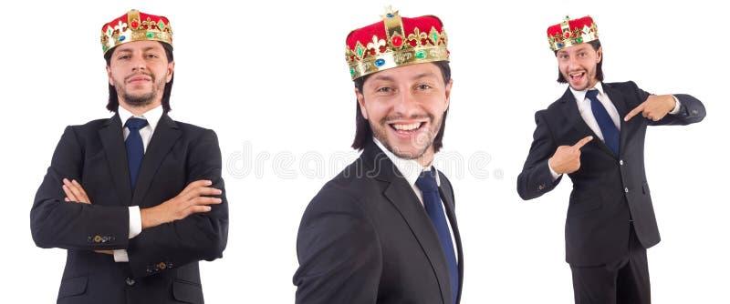 De zakenman met kroon op wit wordt geïsoleerd dat stock foto's
