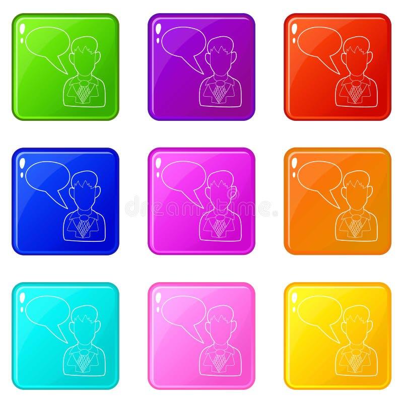 De zakenman met pictogrammen van een de lege toespraakbel plaatste 9 kleureninzameling stock illustratie