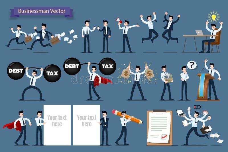 De zakenman met verschillend stelt, werkend en voorstellend procesgebaren, acties en stelt de reeks van het karakterontwerp royalty-vrije illustratie