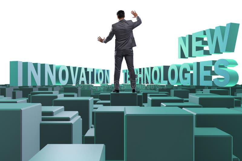 De zakenman in nieuwe technologie?nconcept royalty-vrije stock foto's