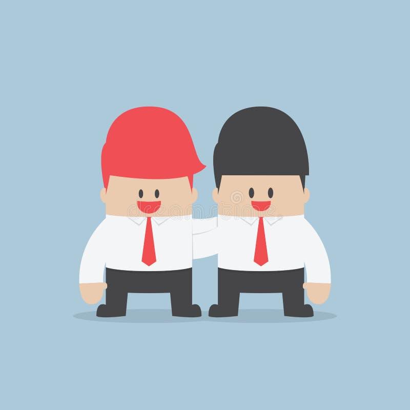 De zakenman omhelst zijn partner stock illustratie