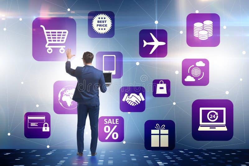 De zakenman in online handel en het winkelen concept royalty-vrije illustratie