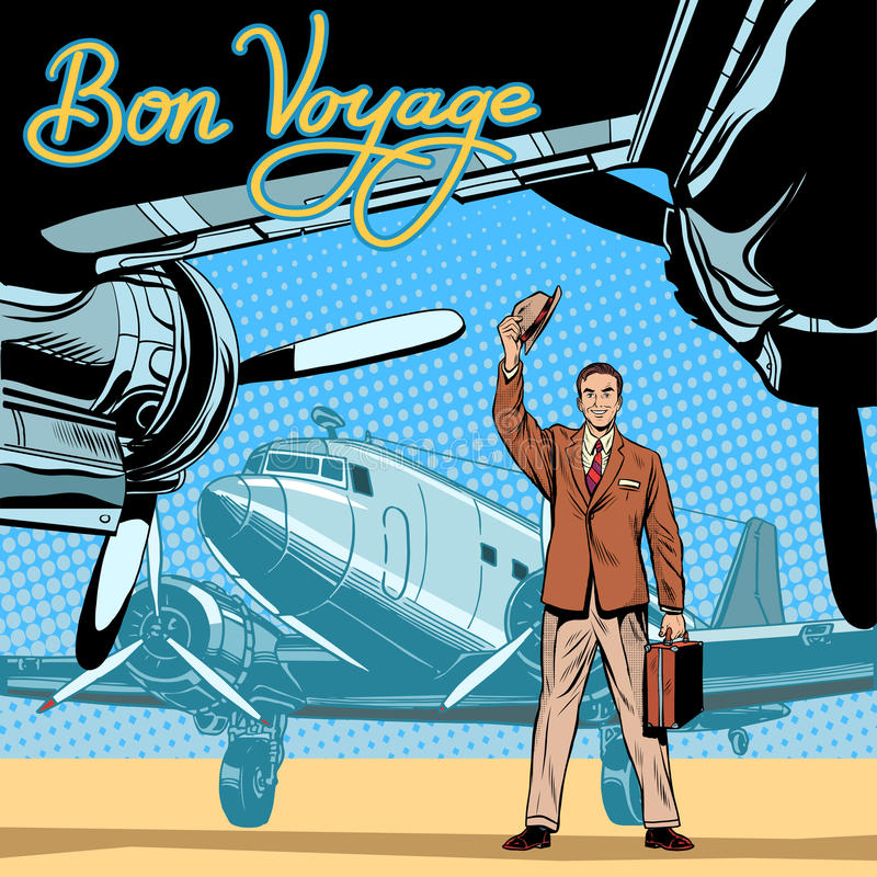 De zakenman ontmoet of begeleidt vertrekvliegtuigen stock illustratie