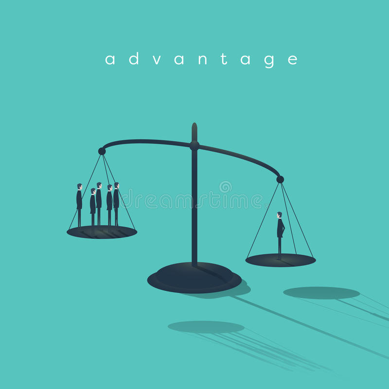 De zakenman op schalen is belangrijker dan andere zakenlieden Symbool van talent, creativiteit en individualiteit royalty-vrije illustratie