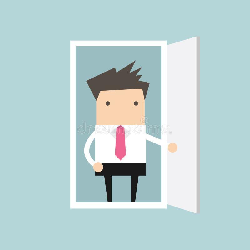 De zakenman opent de deur vector illustratie