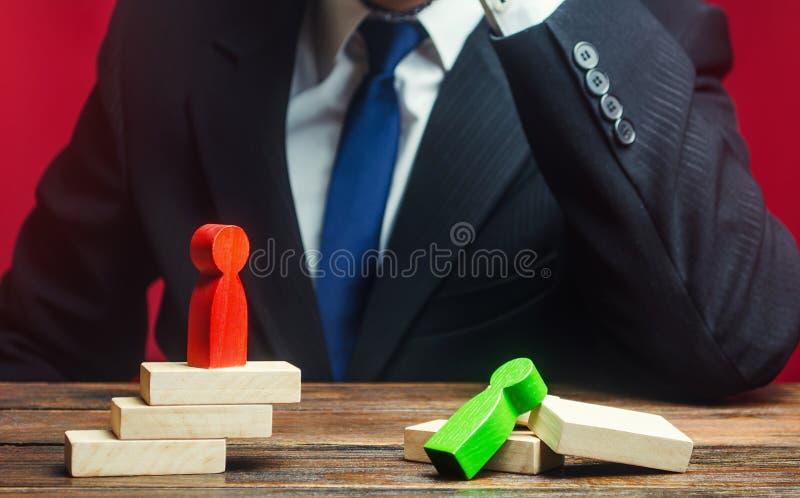 De zakenman is overstuur door de nederlaag van zijn protege Verlies, defect Behandeling van fouten Zwakte incompetentie, overwinn royalty-vrije stock foto