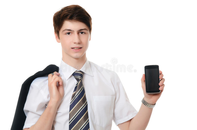 De zakenman in pak spreekt telefonisch royalty-vrije stock foto