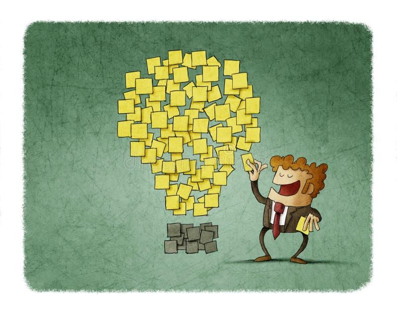 De zakenman plakt een postnota naast anderen die als een idee worden gevormd Het concept van de creativiteit royalty-vrije illustratie