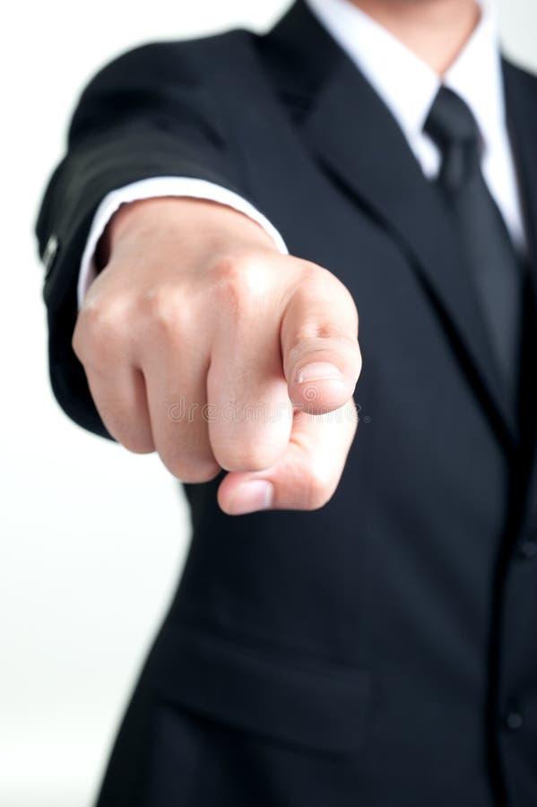 De zakenman Pointing dat ik u heb gewild isoleerde royalty-vrije stock afbeeldingen