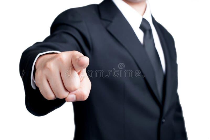De zakenman Pointing dat ik u heb gewild isoleerde stock fotografie